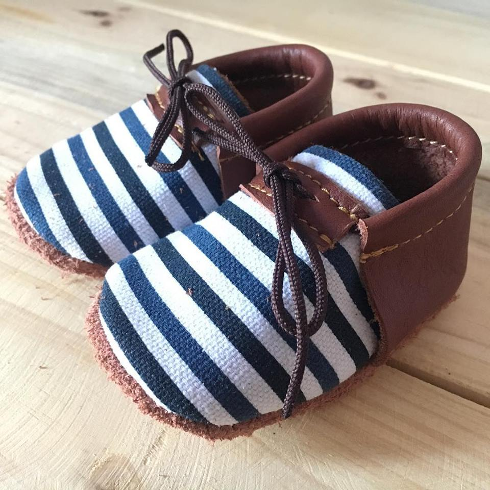 lillie and me leather baby shoes baby mocs boys navy stripes