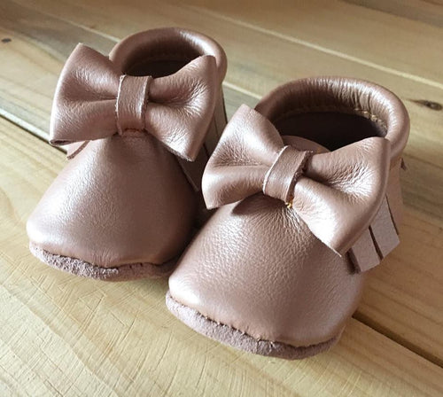 lillie and me leather baby shoes baby mocs rose gold