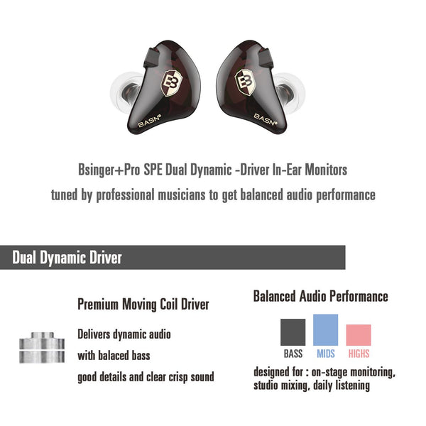 basn bsinger pro in ear monitors headphones noise isolation earphones dual dynamic drivers comfortable earbuds headsets for musicians singers drummers