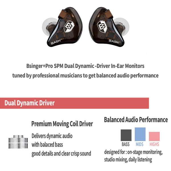 basn bsinger bmaster in ear monitors headphones noise isolation hifi earphones dual dynamic drivers balanced armrture comfortable earbuds headsets for musicians singers drummers