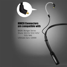 Load image into Gallery viewer, basn mmcx wireless bluetooth headphone cable, upgrade neckband headset cable with microphone and remote for shure se215 se315 se425 se535