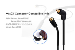 basn mmcx wireless bluetooth headphone cable, upgrade neckband headset cable with microphone and remote for shure se215 se315 se425 se535