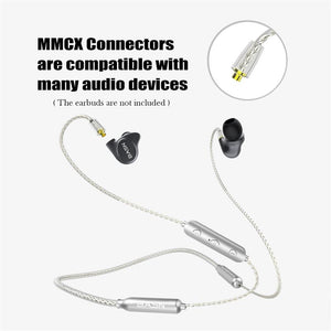 iem bluetooth headphone neckbands with mmcx connector, basn smartcable pro 2nd generation sweat proof sports wireless headsets with mic, portable noise canceling stereo neckband