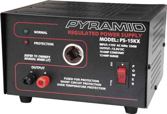 PS15KX Pyramid 10 Amp 12 Volt Power Supply with Cigarette Lighter Socket