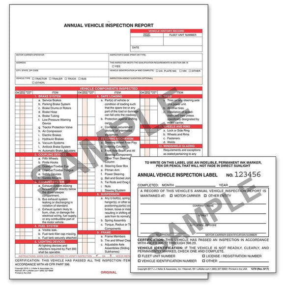 400-MP-25, 400-MP-50, 400-MP-120 J.J. Keller Carbonless Annual Vehicle Inspection Report with Label