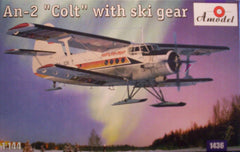 "1/144 Russian An-2 ""Colt"" civil model aircraft kit with ski landing gear."