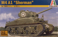 1/72 WW 2 U.S. M4 A1 Sherman tank model kit.