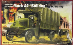 "1/72 WW 1 Mack AC ""Bulldog"" cargo truck model kit."