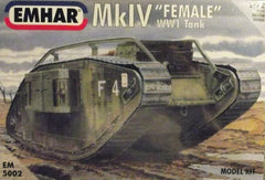 "WW 1 1/72 Mk. IV ""Female"" AFV plastic model tank kit."