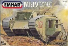 "WW 1 Mk. IV ""Male"" AFV plastic model tank kit."