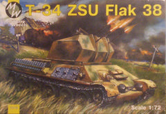 1/72 WW 2 Soviet T-34 ZSU flak 38 anti-aircraft military model tank kit.