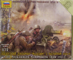 1/72 WW 2 Soviet MG Maxim with military figures.