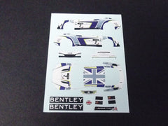 1/64 / HO Bentley Continental GT3 slot car decals.