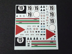 1/64 / HO Ford GT40 #19 Sebring 1967 slot car decals.