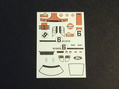 1/64 / HO slot car decals,Ford GT 40 Gulf 1968/69 sponsor.