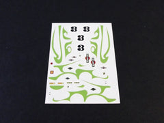 1/64 / HO slot car decals,Porsche 917 green psychedelic stripes.