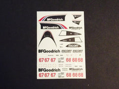1/64 / HO slot car decals,Porsche 962 BF Goodrich sponsor.