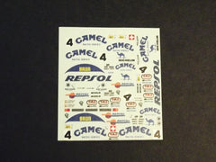 1/64 / HO slot car decals, Porsche 962 Camel sponsor.