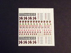 1/64 / HO slot car decals Sponsor Sheet # 2.