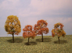 "Deciduous Autumn 2""-3"" Premium Series 4 Pk. trees for dioramas."