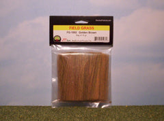 Golden brown field grass scenic material for dioramas & slot car scenery.
