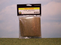 Natural brown field grass scenic material for dioramas & slot car scenery.