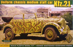 1/72 Kfz.21 WW2 German Staff Car military vehicle model kit.