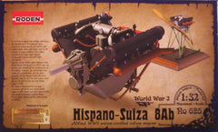 1/32 Hispano-Suiza 8AB plastic model aircraft engine kit.