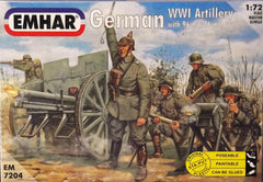 1/72 WW 1 German Artillery & 76 mm gun military figures.