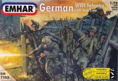 1/72 WW 1 German Infantry with tank crew military figures.
