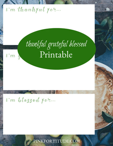 Thankful Grateful Blessed Thanksgiving Printable - PinkFortitude