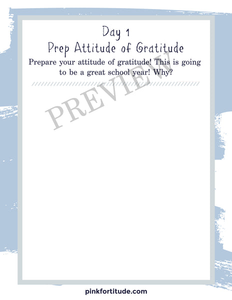 Back to School Gratitude Challenge and Printables