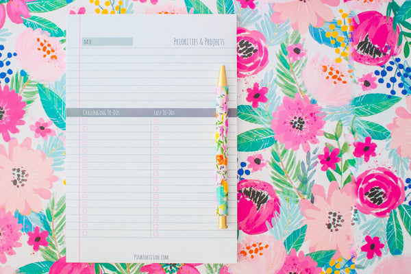 Daily Priorities Tracker - PinkFortitude