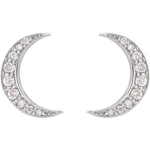 Diamond moon earrings white gold