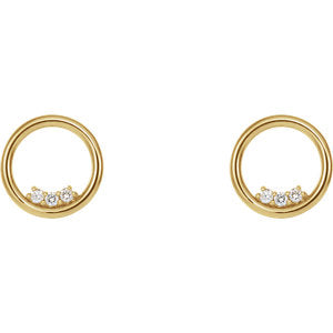 Mini-circle Diamond Earrings