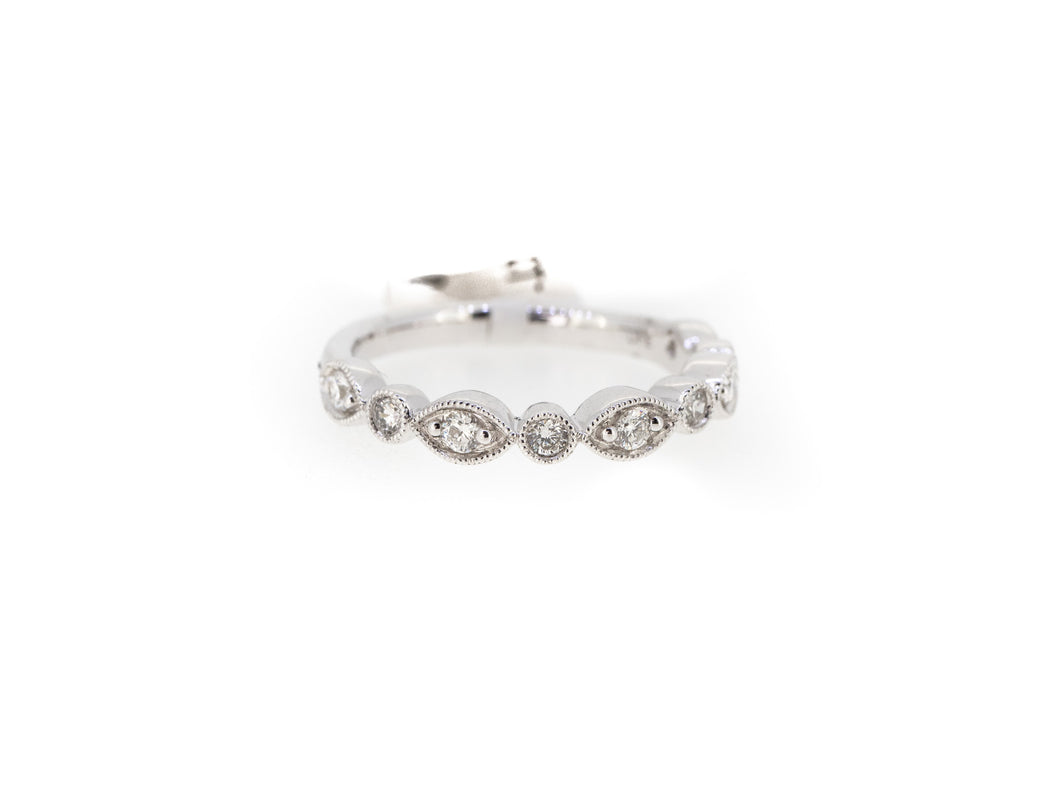 pear and round diamond stacker