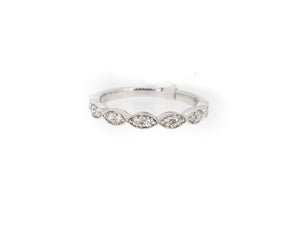 pear half eternity ring