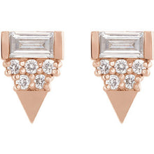 Load image into Gallery viewer, Geo-Triangle Diamond Earrings