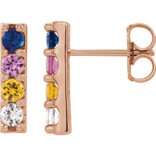 Load image into Gallery viewer, Rainbow Sapphire Bar Earrings
