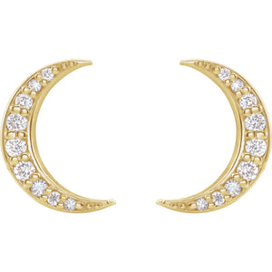 Diamond moon earrings yellow gold