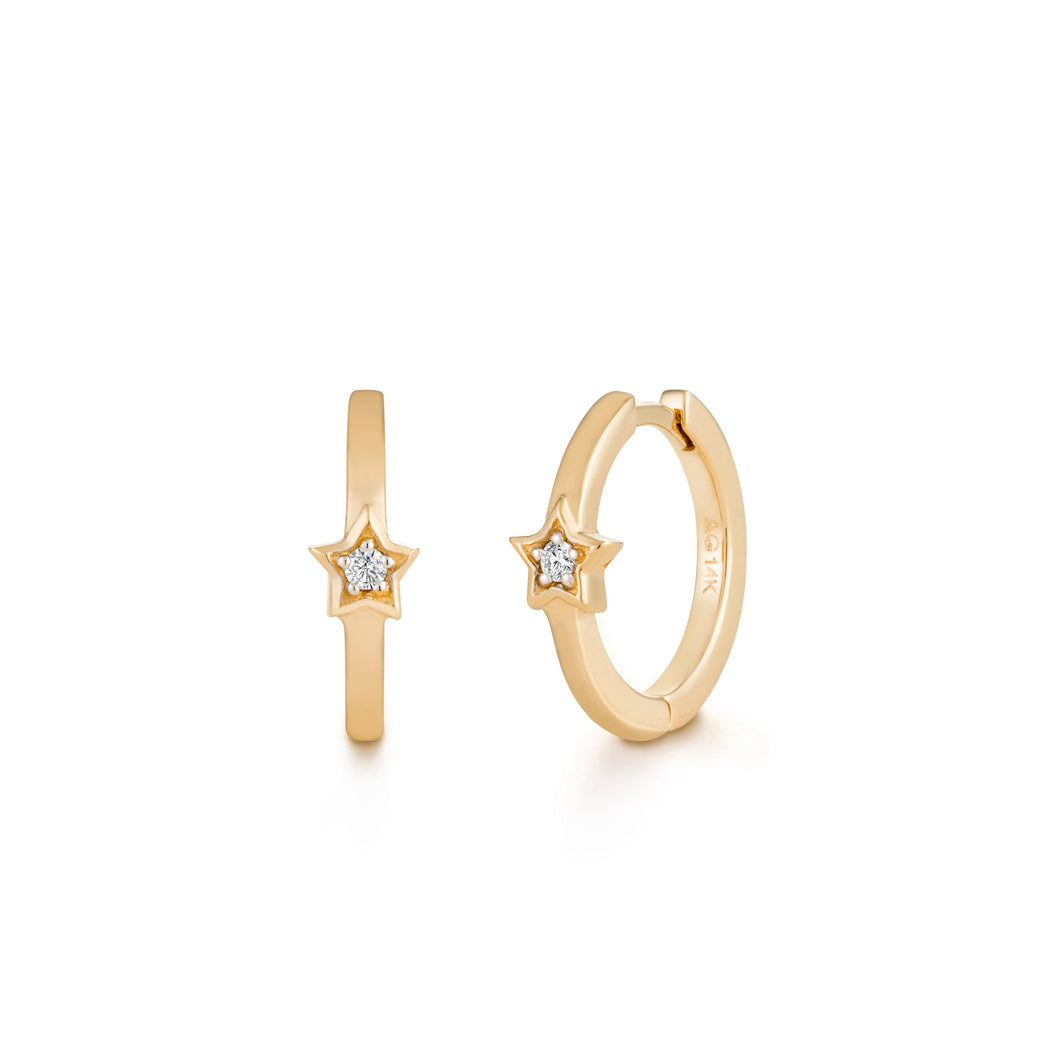 SIMONE | Diamond Star Huggie Hoops