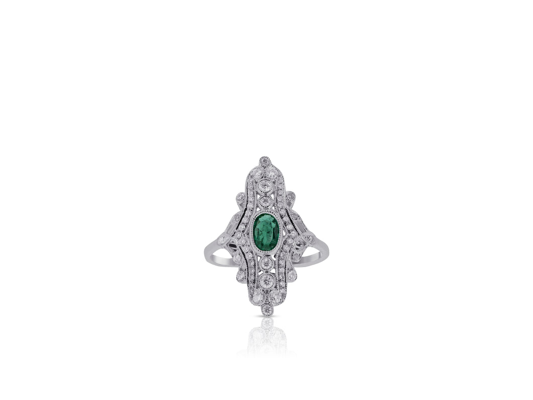 Vintage Inspired Emerald Ring