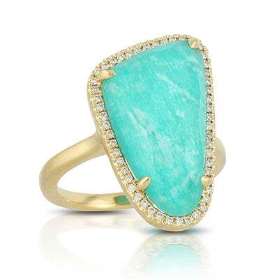 Amazonite Diamond Ring