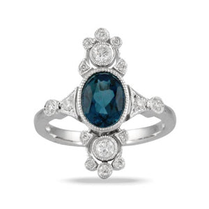 Vintage Inspired Blue Topaz Ring