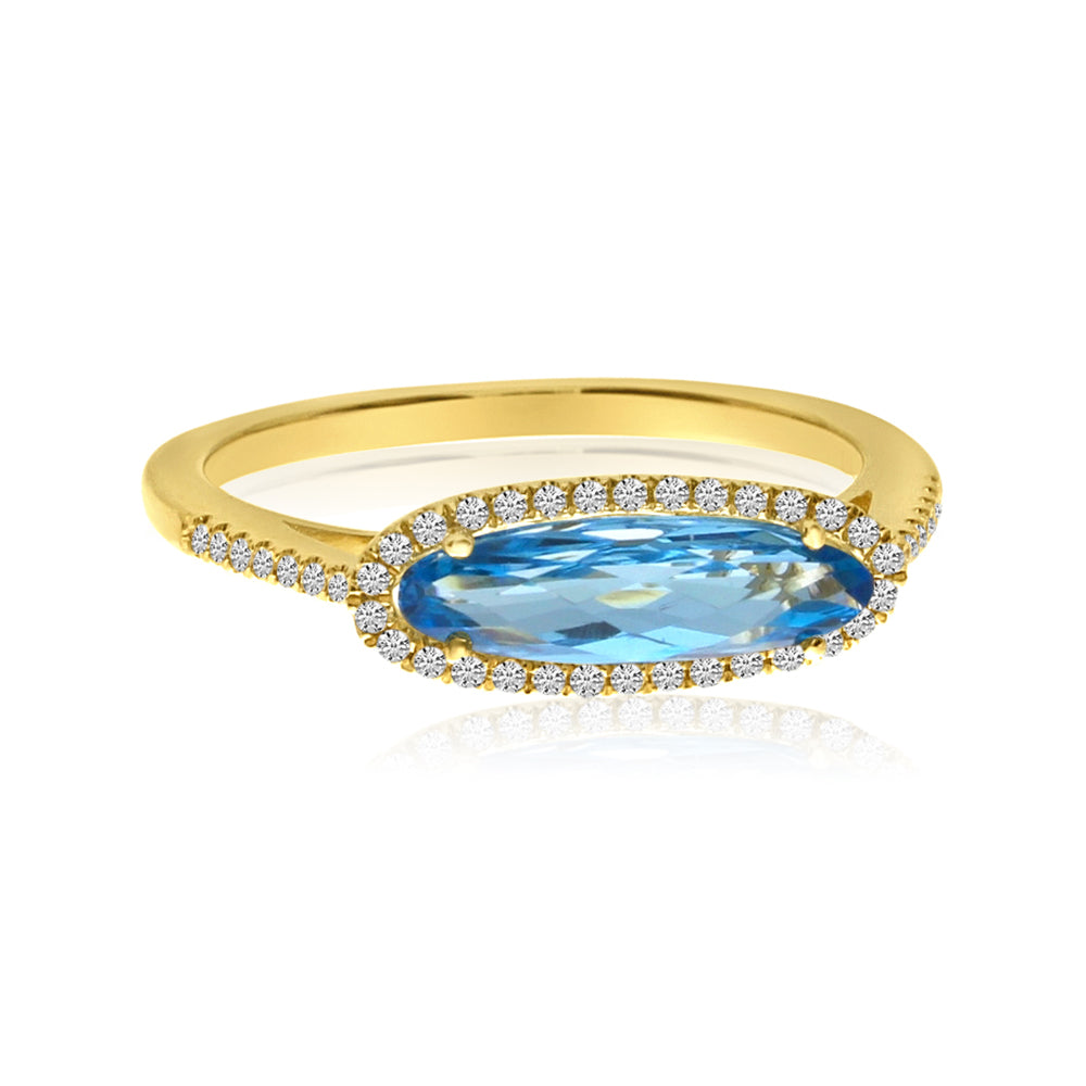 East-West Blue Topaz Diamond Stacker
