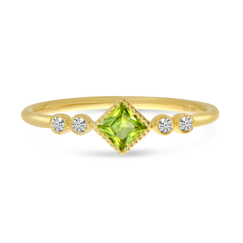 Dainty Diamond & Princess Cut Ring