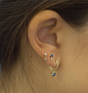 Sapphire venice earrings on model