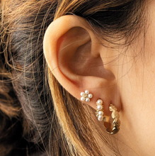 Load image into Gallery viewer, Gold tasha earrings on model