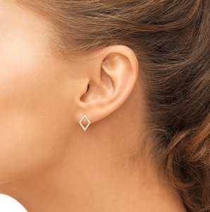 prism earrings on model;