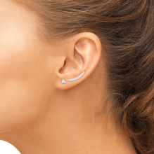 Load image into Gallery viewer, diamond curve earrings with triangel